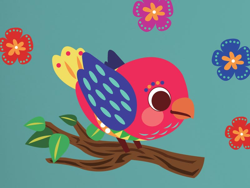 Colourful Birds Family Wall Stickers